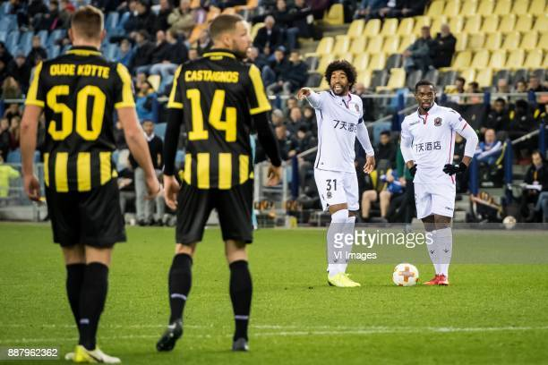 Thomas Oude Kotte of Vitesse Luc Castaignos of Vitesse Dante of OGC Nice Wylan Cyprien of OGC Nice during the UEFA Europa League group K match...