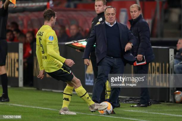 Thomas Ouwejan of AZ Alkmaar coach Dick Advocaat of FC Utrecht during the Dutch Eredivisie match between FC Utrecht v AZ Alkmaar at the Stadium...