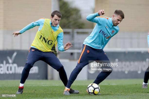 Thomas Ouwejan of Holland U21 Bart Nieuwkoop of Holland U21 during the Training Holland U21 at the Ciutat Esportiva Dani Jarque on March 25 2018 in...