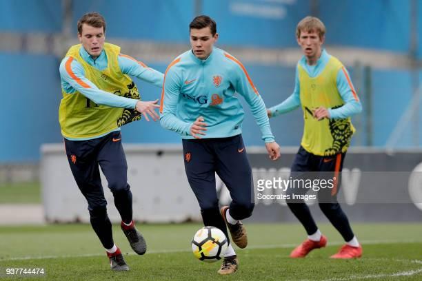 Thomas Ouwejan of Holland U21 Justin Hoogma of Holland U21 during the Training Holland U21 at the Ciutat Esportiva Dani Jarque on March 25 2018 in...