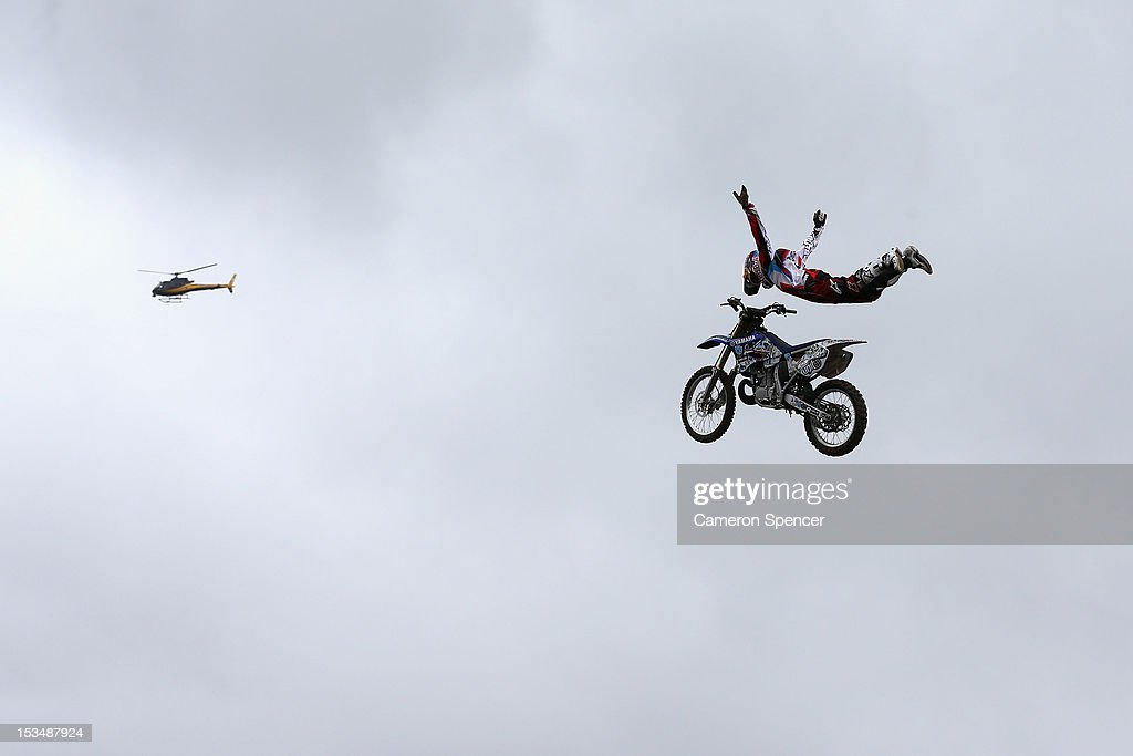 Thomas Pages of France competes in the Red Bull X-Fighters Moto Cross at Cockatoo Island on October 6, 2012 in Sydney, Australia.