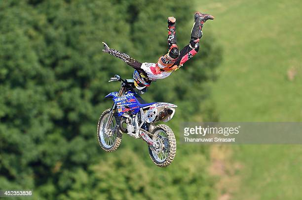 Thomas Pages of France with Yamaha YZ250 competes during qualifying for the Red Bull XFighters World Tour on July 18 2014 in Munich Germany
