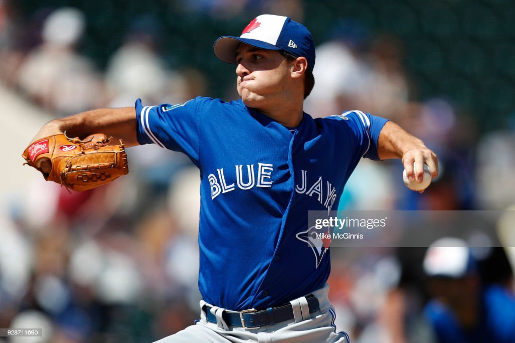 Thomas Pannone #45 of the Toronto Blue Jays pitches during the first inning of the spring training game against the Detroit Tigers at Joker Marchant Stadium on March 07, 2018 in Lakeland, Florida.