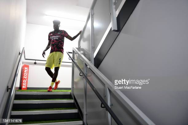Thomas Partey of Arsenal before the Premier League match between Burnley and Arsenal at Turf Moor on September 18, 2021 in Burnley, England.