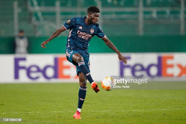 Thomas Partey of Arsenal controls the ball during the UEFA Europa League Group B stage match between Rapid Wien and Arsenal FC at Allianz Stadion on...