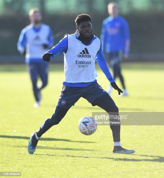 Thomas Partey of Arsenal during a training session at London Colney on January 22, 2021 in St Albans, England.