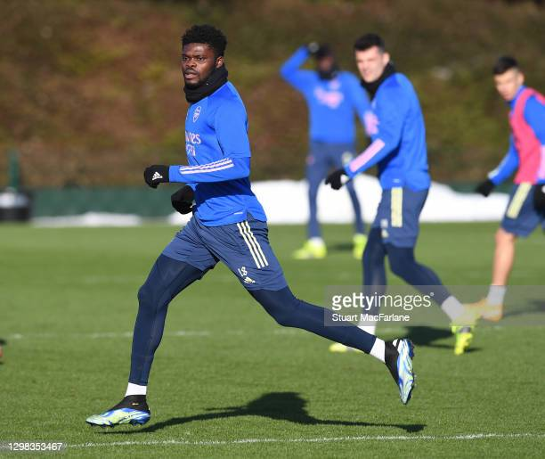 Thomas Partey of Arsenal during a training session at London Colney on January 25, 2021 in St Albans, England.