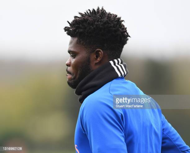 Thomas Partey of Arsenal during a training session at London Colney on May 08, 2021 in St Albans, England.