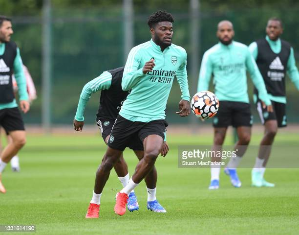 Thomas Partey of Arsenal during a training session at London Colney on July 30, 2021 in St Albans, England.