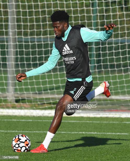 Thomas Partey of Arsenal during the Arsenal 1st team training session at London Colney on October 21, 2021 in St Albans, England.