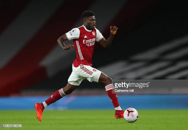 Thomas Partey of Arsenal during the Premier League match between Arsenal and Leicester City at Emirates Stadium on October 25, 2020 in London,...