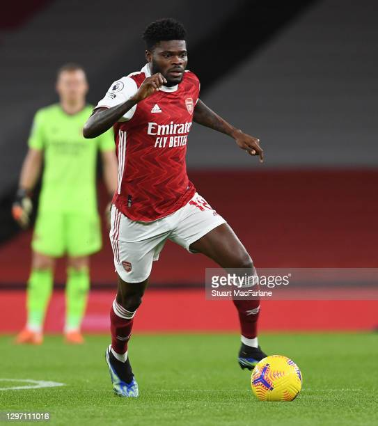 Thomas Partey of Arsenal during the Premier League match between Arsenal and Newcastle United at Emirates Stadium on January 18, 2021 in London,...