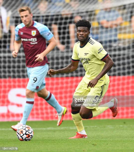 Thomas Partey of Arsenal during the Premier League match between Burnley and Arsenal at Turf Moor on September 18, 2021 in Burnley, England.
