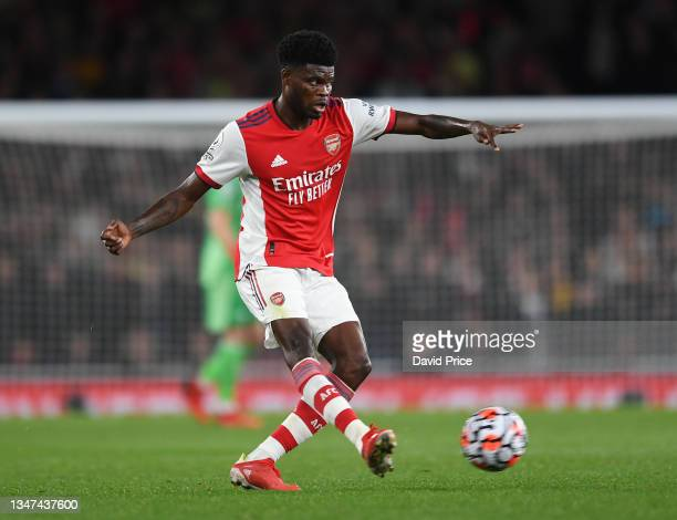 Thomas Partey of Arsenal during the Premier League match between Arsenal and Crystal Palace at Emirates Stadium on October 18, 2021 in London,...