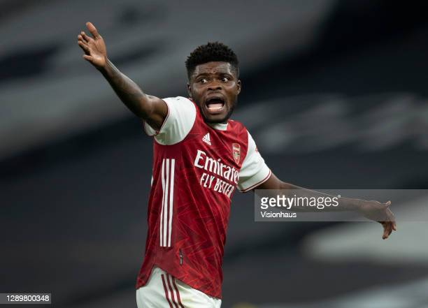 Thomas Partey of Arsenal during the Premier League match between Tottenham Hotspur and Arsenal at Tottenham Hotspur Stadium on December 6, 2020 in...
