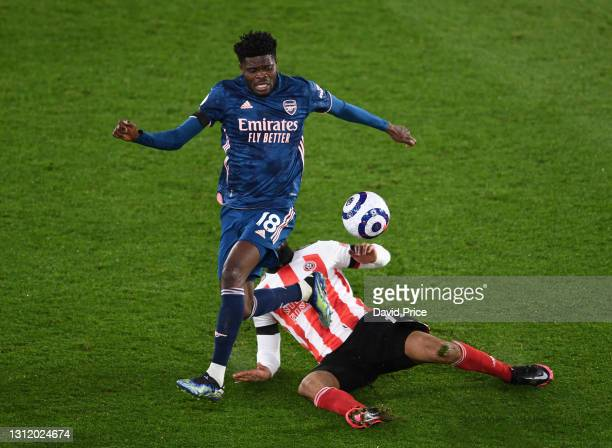Thomas Partey of Arsenal during the Premier League match between Sheffield United and Arsenal at Bramall Lane on April 11, 2021 in Sheffield, England.