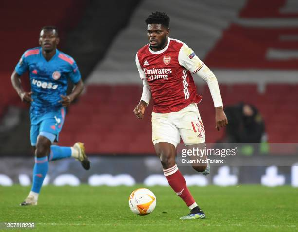 Thomas Partey of Arsenal during the UEFA Europa League Round of 16 Second Leg match between Arsenal and Olympiacos at Emirates Stadium on March 18,...