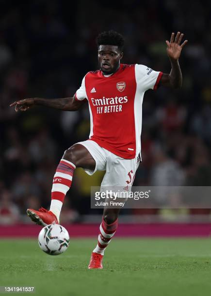 Thomas Partey of Arsenal in action during the Carabao Cup Third Round match between Arsenal and AFC Wimbledon at Emirates Stadium on September 22,...