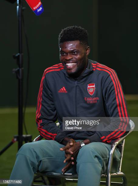 Thomas Partey of Arsenal is interviewed ahead of the UEFA Europa League Group B stage match between Arsenal FC and Dundalk FC at London Colney on...