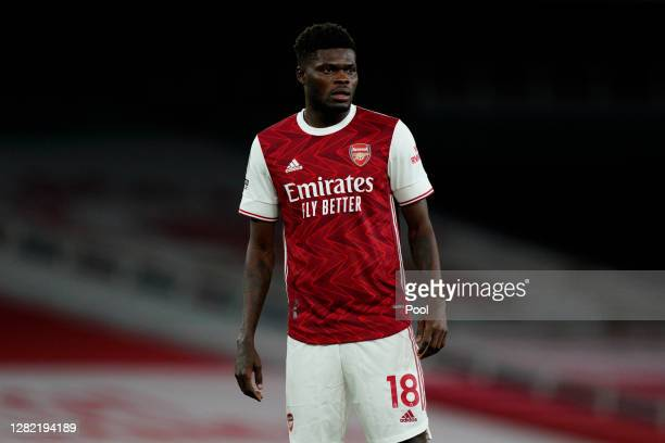 Thomas Partey of Arsenal looks on during the Premier League match between Arsenal and Leicester City at Emirates Stadium on October 25, 2020 in...