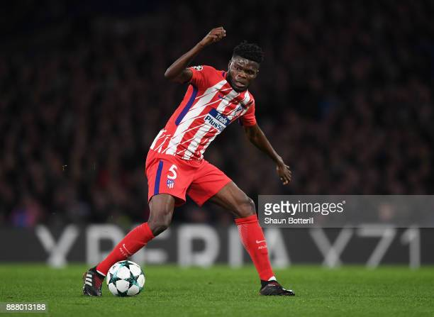 Thomas Partey of Athletico Madrid controls the ball during the UEFA Champions League group C match between Chelsea FC and Atletico Madrid at Stamford...