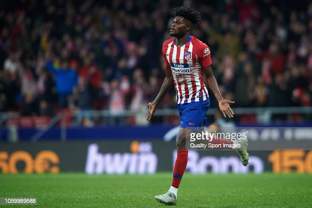 Thomas Partey of Atletico de Madrid celebrates after scoring his team's first goal during the La Liga match between Club Atletico de Madrid and...