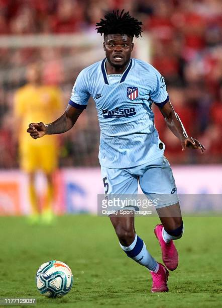 Thomas Partey of Atletico de Madrid in action during the Liga match between RCD Mallorca and Club Atletico de Madrid at Iberostar Estadi on September...