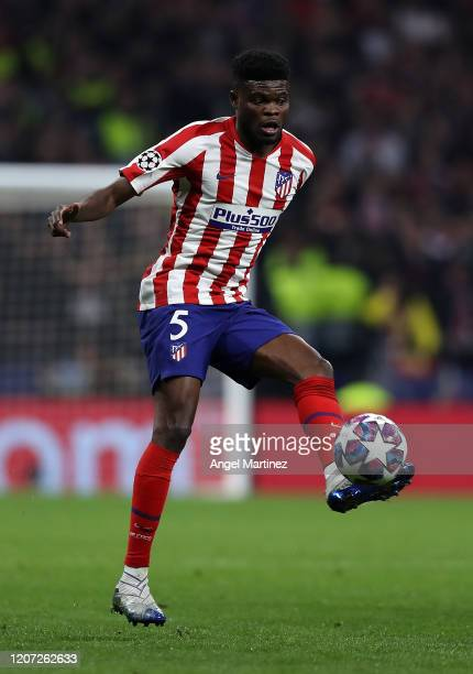 Thomas Partey of Atletico de Madrid in action during the UEFA Champions League round of 16 first leg match between Atletico Madrid and Liverpool FC...