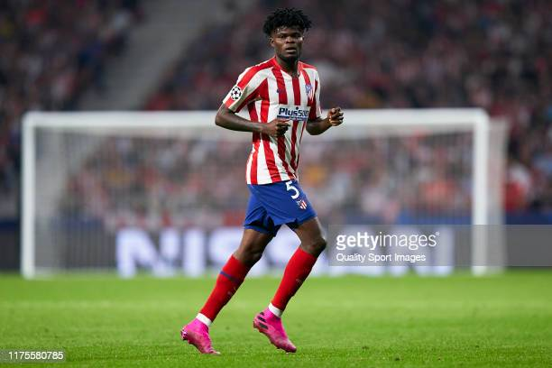 Thomas Partey of Atletico de Madrid looks on during the UEFA Champions League group D match between Atletico Madrid and Juventus at Wanda...