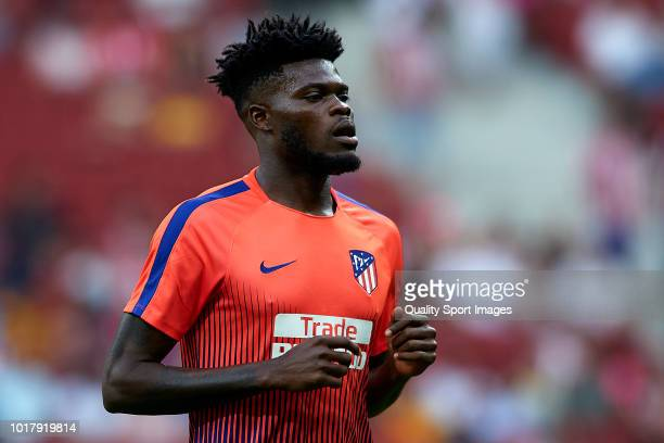 Thomas Partey of Atletico de Madrid looks on prior to during the International Champions Cup match between Atletico de Madrid and FC Internazionale...