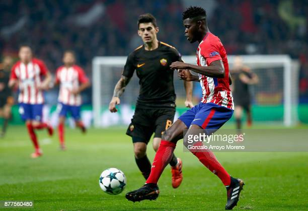 Thomas Partey of Atletico Madrid in action during the UEFA Champions League group C match between Atletico Madrid and AS Roma at Wanda Metropolitano...