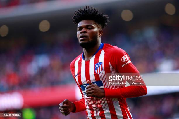 Thomas Partey of Atletico Madrid looks on during the La Liga match between Club Atletico de Madrid and Levante UD at Wanda Metropolitano on January...