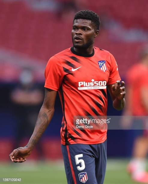 Thomas Partey of Atletico Madrid looks on during warm-up ahead of the Liga match between Club Atletico de Madrid and Real Sociedad at Wanda...