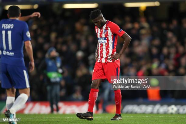 Thomas Partey of Atletico Madrid reacts at full time during the UEFA Champions League group C match between Chelsea FC and Atletico Madrid at...