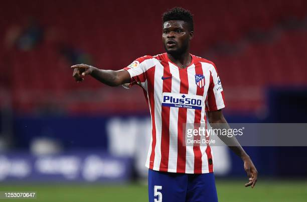 Thomas Partey of Atletico Madrid reacts during the Liga match between Club Atletico de Madrid and Deportivo Alaves at Wanda Metropolitano on June 27,...