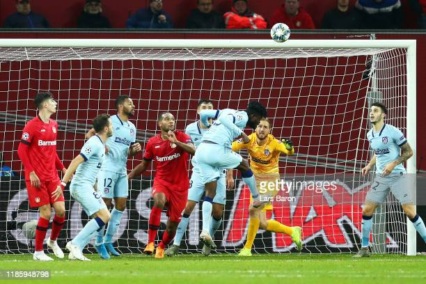 Thomas Partey of Atletico Madrid scores an own goal during the UEFA Champions League group D match between Bayer Leverkusen and Atletico Madrid at...
