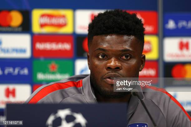 Thomas Partey of Atletico Madrid speaks to the media during an Athletico Madrid Press Conference at Anfield on March 10, 2020 in Liverpool, United...