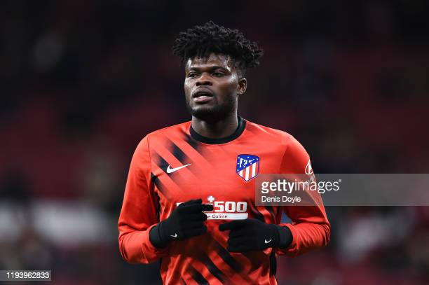 Thomas Partey of Atletico Madrid warms up before the Liga match between Club Atletico de Madrid and CA Osasuna at Wanda Metropolitano on December 14,...