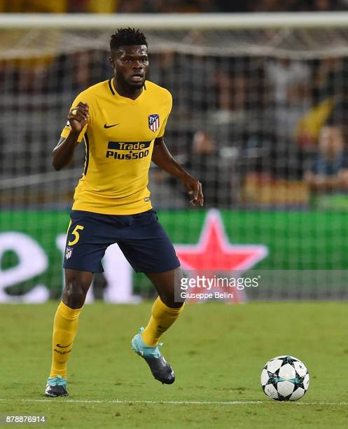Thomas Partey of Club Atletico de Madrid in action during the UEFA Champions League group C match between AS Roma and Atletico Madrid at Stadio...