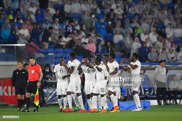 Thomas Partey of Ghana celebrates scoring the opening goal with his team mates during the international friendly match between Japan and Ghana at...