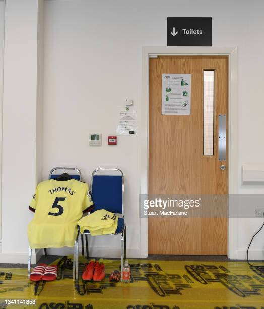 Thomas Partey's kit in the Arsenal changing room before before the Premier League match between Burnley and Arsenal at Turf Moor on September 18,...