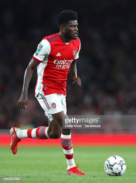 Thomas Partley of Arsenal controls the ball during the Carabao Cup Third Round match between Arsenal and AFC Wimbledon at Emirates Stadium on...