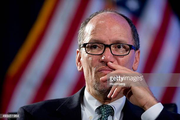 Thomas Perez US secretary of labor attends a Labor Hall of Fame Honor induction ceremony with Janet Yellen chair of the US Federal Reserve not...