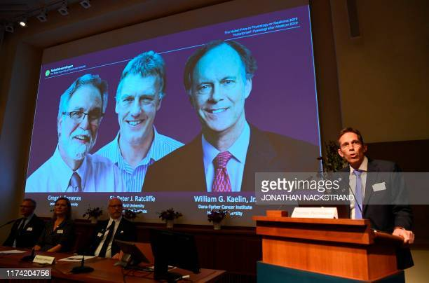 Thomas Perlmann , the Secretary of the Nobel Committee, speaks as the winners are announced of the 2019 Nobel Prize in Physiology or Medicine during...