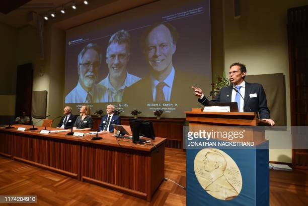 Thomas Perlmann the Secretary of the Nobel Committee speaks as the winners are announced of the 2019 Nobel Prize in Physiology or Medicine during a...
