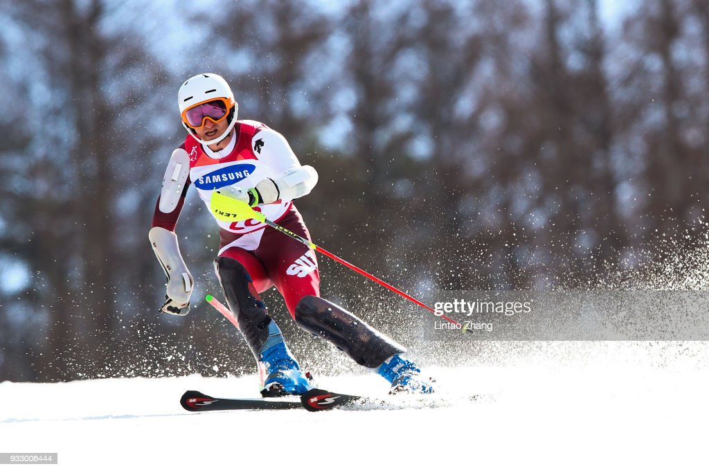 Thomas Pfyl of Switzerland competes in the Men's Slalom Run 2 - Standing at Alpine Centre during day eight of the PyeongChang 2018 Paralympic Games on March 17, 2018 in Pyeongchang-gun, South Korea.