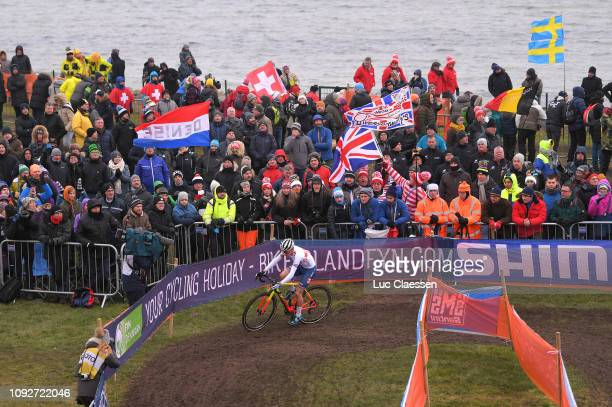 Thomas Pidcock of Great Britain and Team Great Britain / Landscape / Peloton / Fans / Public / Sea / during the 70th Cyclo-cross World Championships...