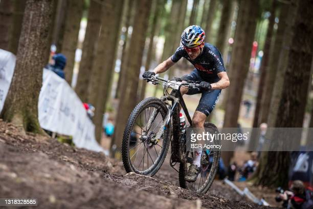 Thomas Pidcock of Great Britain during the Mercedes-Benz UCI Mountain Bike World Cup - Women Elite on May 16, 2021 in Nove Mesto na Morave, Czech...