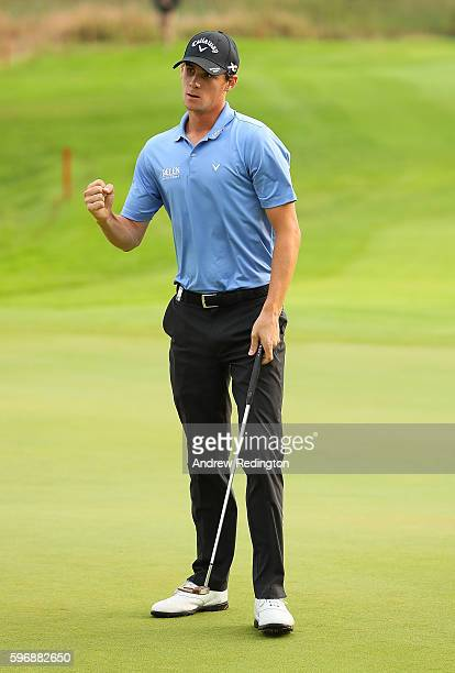 Thomas Pieters of Belgium celebrates a birdie on the 18th green during the final round of Made in Denmark at Himmerland Golf Spa Resort on August 28...