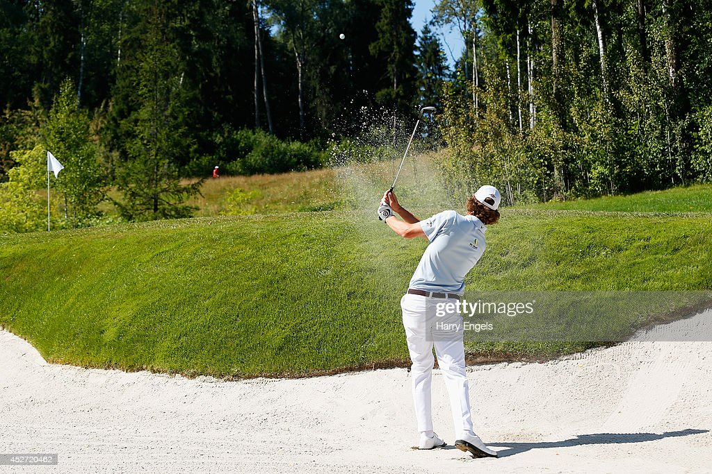 Thomas Pieters of Belgium chips out of a bunker at the twelfth on day three of the M2M Russian Open at Tseleevo Golf & Polo Club on July 26, 2014 in Moscow, Russia.